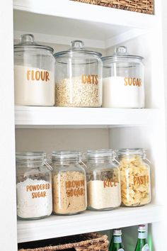 Open pantry shelves and free pantry labels to print! - Angela Marie made - Organization Open Pantry Shelves and Free Pantry Labels Printable! – Angela Marie Made Open pantry shelves and free pantry labels - Pantry Shelving, Pantry Storage, Kitchen Storage, Storage Shelves, Kitchen Canisters, Baking Storage, Open Shelving, Narrow Shelves, Kitchen Backsplash
