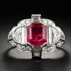 Exceptional Art Deco No-Heat Burma Ruby, Platinum and Diamond Ring