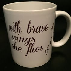 With brave wings she flies coffee mug by BlackCatPrints on Etsy