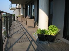 ResiDeck composite wood deck tiles on balcony modern patio Balcony Tiles, Condo Balcony, Balcony Flooring, Flooring Tiles, Wood Deck Tiles, Patio Tiles, Diy Design, Interlocking Deck Tiles, Balkon Design