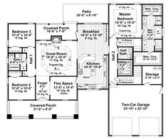 Ranch House Plan First Floor - 077D-0164 | House Plans and More - Remove basement stairs to provide depth to garage
