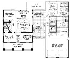 Ranch House Plan First Floor 077D-0164  from houseplansandmore.com