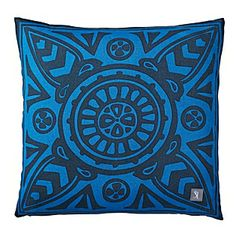 Cobalt Scarf Print Outdoor Pillow, $78 at Serena & Lily; outdoor pillow indoors for durability