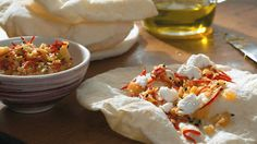Syrian mountain bread with crushed mild chillies, spring onions and ...