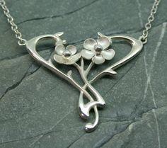 Sterling silver Art Nouveau necklace, wedding necklace, brides necklace, flower…