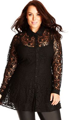 Collared Lace Button Up Shirt Black Plus Size #UNIQUE_WOMENS_FASHION