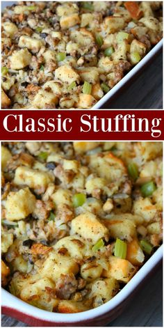 Enjoy this classic and easy Thanksgiving Stuffing Recipe alongside your roasted turkey! Filled with seasoned bread, onions, celery and mushrooms, this stuffing is the perfect addition to your holiday dinner table! Stuffing Recipes For Thanksgiving, Thanksgiving Sides, Christmas Stuffing, Holiday Recipes, Healthy Thanksgiving Recipes, Thanksgiving Appetizers, Thanksgiving Decorations, Classic Stuffing Recipe, Classic Recipe