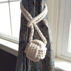 Nautical rope curtain tie back  nautical by highplainsknotwork