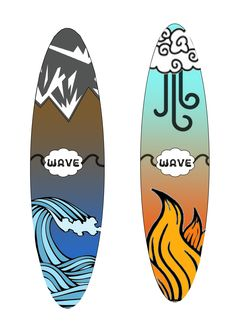6th personal wave surfboard designs, using online vectors