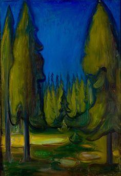 Edvard Munch (Norwegian, 1863-1944), Dark Spruce Forest, 1899. Casein and oil on canvas, 95.5 x 81 cm. Munch Museum, Oslo
