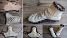 Diy Crafts - Make these super soft cozy slippers using a free knitting pattern in English and Russian languages. This is a great pattern whether you w Knit Slippers Free Pattern, Knitted Slippers, Crochet Slippers, Knitting Patterns Free, Free Knitting, Baby Knitting, Crochet Patterns, Knitting Socks, Homestead Survival
