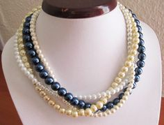 Pearl Wedding Necklace, Pearl Necklace in Navy Blue, Ivory, White, Beige Champagne, Bridesmaid Necklace, Four Strands, Multi Strand Necklace