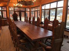6 метровый стол под старину из массива сосны /  6 m. rustic table