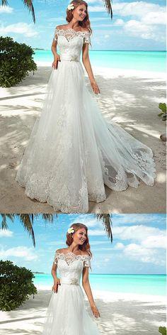 Elegant Lace Off-the-shoulder Neckline Beaded Wedding Dresses With Belt,WDY0183