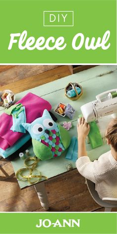 Stuffed Animals Crafts It's amazing what colorful fabric can become! Check out this DIY Fleece Owl craft idea with your kids to make a cozy decoration and stuffed animal for their room. Ribbon Projects, Diy Sewing Projects, Sewing Crafts, Craft Projects, Craft Ideas, Sewing To Sell, Sewing For Kids, Owl Crafts, Crafts For Kids