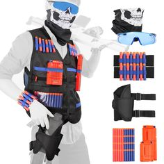 40 x refill bullet soft darts. All in One Nerf Tactical Vest Kit Gun N Strike Elite Foam Darts Mask and Glasses. Both of them can work with all Nerf N-Strike Elite blasters and most original N-Strike blasters; Nerf Tactical Vest, Tactical Holster, Nerf Gun Storage, Pistola Nerf, Cool Nerf Guns, Nerf Mod, Cute Posts, Christmas Toys, Christmas Ideas