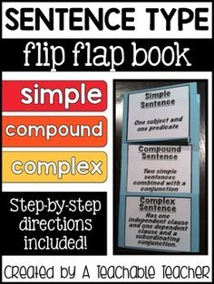 Simple, Compound, and Complex Sentence Flip Flap Book