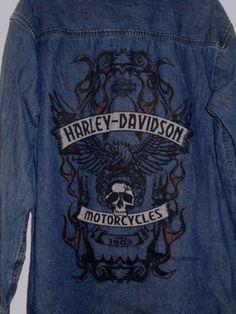 1e9bfa2f1 Men harley davidson motorcycles dk blue denim skull tattoo graphic biker  shirt~l