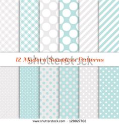 """Jumbo Polka Dot, Gingham and Diagonal Stripe Patterns in Aqua Blue, White and Silver. Pattern Swatches with Global Colors. Matches my other """"White Christmas Backgrounds"""" Image ID: 118541659; 147772760"""