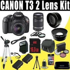 Canon EOS Rebel T3 (1100D) SLR w/ 18-55mm IS II Lens (Black) + Canon EF-S 55-250mm f/4.0-5.6 IS Telephoto Zoom Lens + TWO LPE10 Batteries + Macro Close Up Set + Wide Angle/Telphoto Lenses + Filter Kit + External Flash + 16GB SDHC DavisMAX HDMI Bundle   Price:$797.03