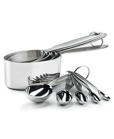Stainless steel measuring cups and spoons designed for precision cooking