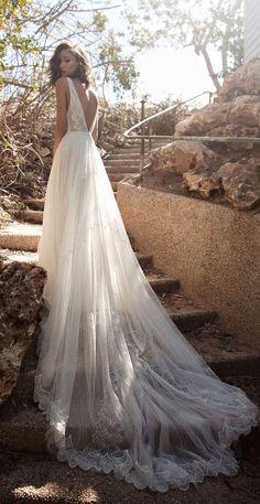 bridal V neckline heavily embellished bodice bohemian soft a line wedding dress chapel train flora-bride #weddingdress #wedding #bride #bohemian #bohobride