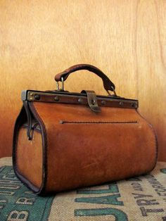 Vintage Cowhide SATCHEL BAG sculptural tan leather mini Doctor Bag...etsy ... sold
