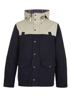 NAVY COLOUR BLOCK MOUNTAIN PARKA coat - Men's Coats & Jackets   - Clothing