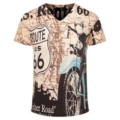 Route 66 And Motorcycle 3D Print Short Sleeve T-Shirt  ca11d5e06f8