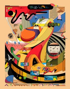 Architectural Gibberish Industry Magic on Behance Creative Illustration, Flat Illustration, Graphic Design Illustration, Digital Illustration, Organ Donation Poster, Techno, Kids Book Series, Psychedelic Art, Aesthetic Art
