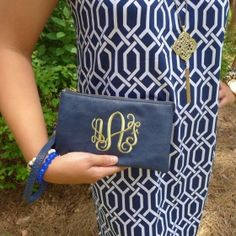 Two in One Wristlet- Navy With Embroidered Monogram