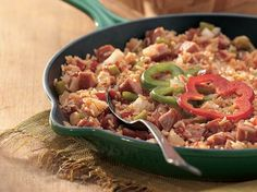 Enjoy this hearty kielbasa sausage, rice and vegetable skillet recipe made using Progresso® chicken broth - perfect for a 30-minute Creole-style dinner!