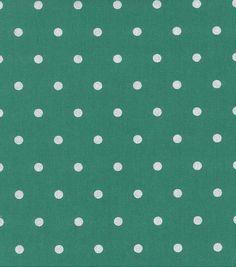 Keepsake Calico Cotton Fabric- Silver Metallic Dots On Green
