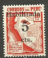 Peru Estampillas 1940 Highway Mapa Del Perú OVP 5c sobre 10c Mnh ver Imagen