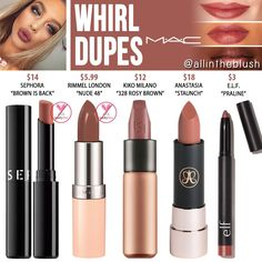 """MAC Whirl Lipstick Dupes - All In The Blush I have another MAC Cosmetics Lipstick dupe to share with you! The next shade up on the dupe list is """"Whirl"""", a dirty rose . Mac Dupes, Mac Cosmetics Lipstick, Blush Dupes, Drugstore Makeup Dupes, Beauty Dupes, Makeup Eyeshadow, Beauty Makeup, Lipstick Mac, Lipsticks"""