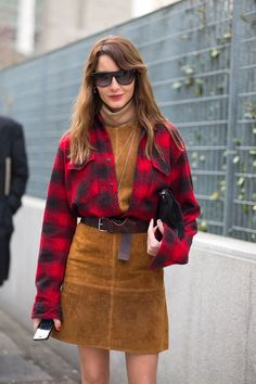 Buffalo Plaid + corduroy Skirt, Milan Street Style -- Ece Sukan   - HarpersBAZAAR.com
