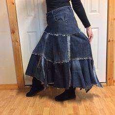 Long Denim Skirt/Blue Jean Skirt/Denim Maxi by sewsomer on Etsy