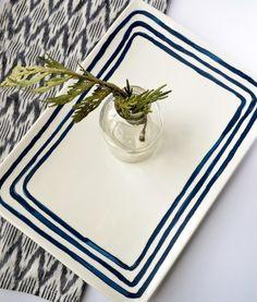 DIY: hand painted ceramic serving dish