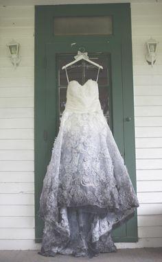 gray ombre wedding dress | photo: moondance photography | via emmalinebride.com