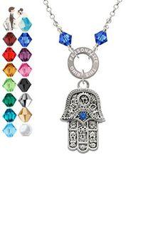 Hamsa Hand with Blue Crystal - Custom Engraved Eternity Circle Crystal Necklace - Wedding nacklaces (*Amazon Partner-Link)