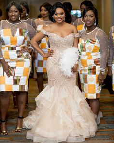 Look Stunning, Slinky & Hot With The Latest Kente Styles African Wedding Attire, African Attire, African Dress, African Wear, African Print Fashion, African Fashion Dresses, Africa Fashion, African Traditional Wedding Dress, Ghana Wedding