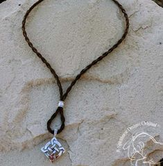 Nia necklace, horse hair necklace shown with Celtic Shield pendant - sterling silver, $62.00  www.spirithorsedesigns.com