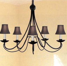 A7-BLACKSHADES/403/5 Wrought Iron WROUGHT IRON CHANDELIER WITH SHADES