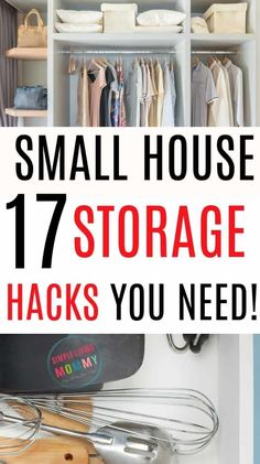 17 Small House Storage Hacks You Need! - MakeCalmLovely - 17 Small House Storage Hacks You Need! Small house storage ideas - small house kitchen storage and small house bathroom storage ideas you'll wish you found sooner! Storage hacks for every room! Small Kitchen Storage, Small Storage, Diy Storage, Small House Storage Ideas, Kitchen Small, Bedroom Storage Hacks, Ideas For Small Houses, Kitchen Ideas, Small Bedroom Storage