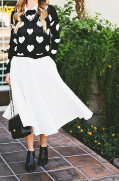 heart sweater with midi skirt and ankle boots #loveit #ootd www.alittledashofdarling.com