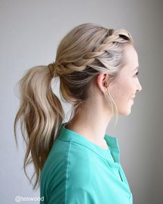 Rope braid into a wrapped ponytail