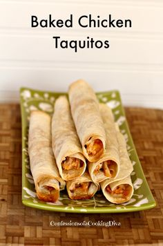 baked chicken taquitos - confessions of a cooking diva Pre Cooked Chicken, How To Cook Chicken, Baked Chicken, Chicken Recipes, I Love Food, Good Food, Yummy Food, Yummy Recipes, Dinner Recipes
