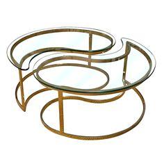 Mid-Century Yin Yang Brass Coffee Tables $2100.