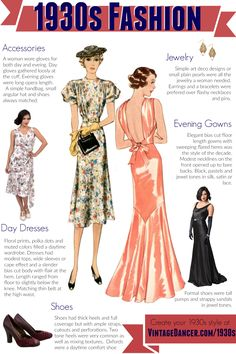 1930s fashion for women. Day and evening dress styles, shoes and accessories. Create your own 1930s look at VintageDancer.com/1930s