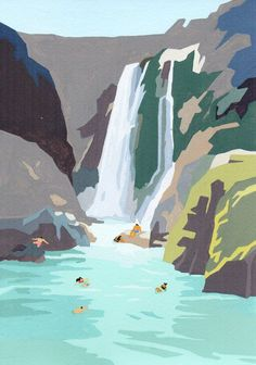 Original Gouache painting - Waterfall On acid free 300gsm watercolor paper Approx dimensions : • Painting size is 15cm x 21cm • Painting comes…